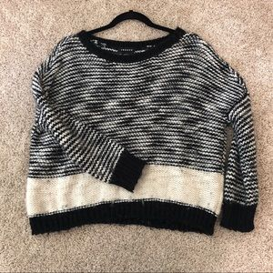 Trouble black and white sweater